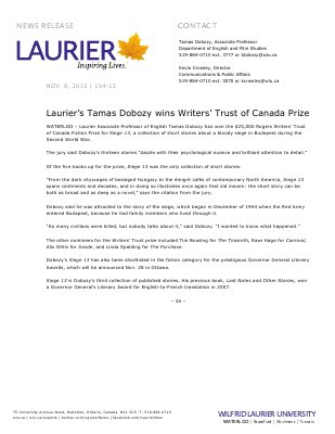 154-2012 : Laurier's Tamas Dobozy wins Writers' Trust of Canada Prize