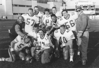 Wilfrid Laurier University football team with Yates Cup, 1991
