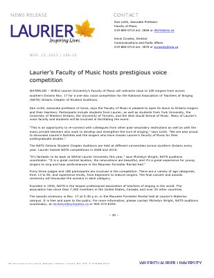 156-2012 : Laurier's Faculty of Music hosts prestigious voice competition
