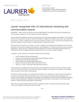 157-2012 : Laurier recognized with 16 international marketing and communication awards