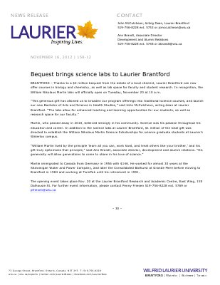 158-2012 : Bequest brings science labs to Laurier Brantford