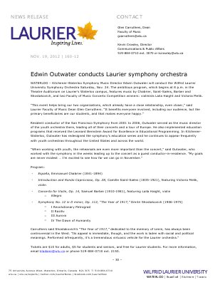 160-2012 : Edwin Outwater conducts Laurier symphony orchestra