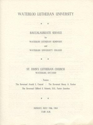 Waterloo Lutheran University baccalaureate service program, spring 1963