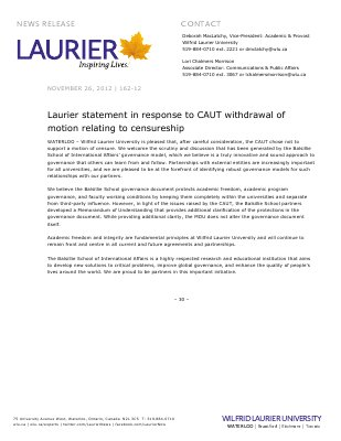 162-2012 : Laurier statement in response to CAUT withdrawal of motion relating to centureship