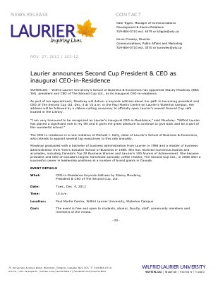 163-2012 : Laurier announces Second Cup President & CEO as inaugural CEO-in-residence