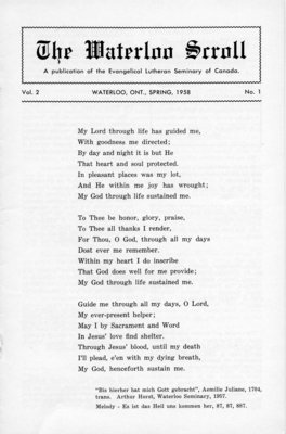 The Waterloo scroll : a publication of the Evangelical Lutheran Seminary of Canada , Vol. 2 No.1, Spring 1958