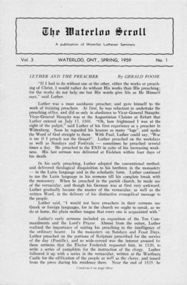 The Waterloo scroll : a publication of the Evangelical Lutheran Seminary of Canada , Vol. 3 No.1, Spring, 1959