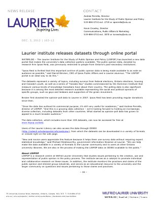 163a-2012 : Laurier institute releases datasets through online portal