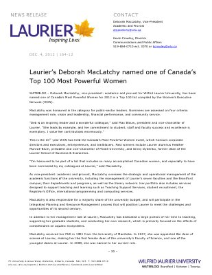 164-2012 : Laurier's Deborah MacLatchy named one of Canada's Top 100 Most Powerful Women