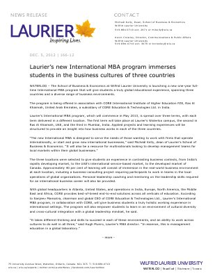 166-2012 : Laurier's new International MBA program immerses students in the business cultures of three countries