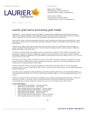 167-2012 : Laurier grad earns accounting gold medal