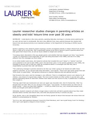 168-2012 : Laurier researcher studies changes in parenting articles on obesity and kids' leisure time over past 30 years
