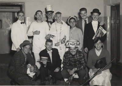 Eleven Waterloo College students dressed in costumes