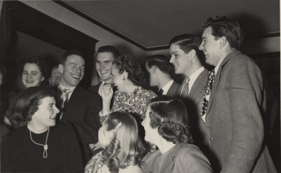 Waterloo College students and faculty at a party