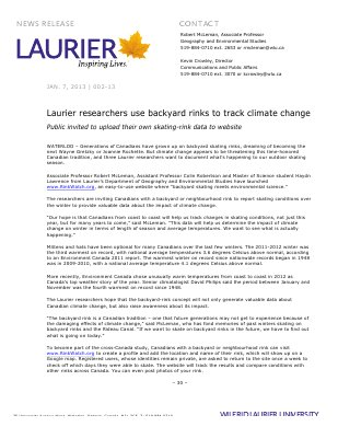 02-2013 : Laurier researchers use backyard rinks to track climate change