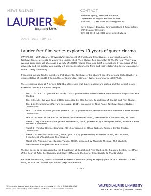 04-2013 : Laurier free film series explores 10 years of queer cinema