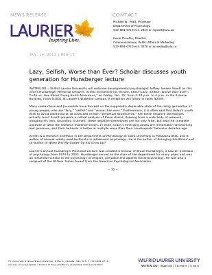 06-2013 : Lazy, Selfish, Worse than Ever? Scholar discusses youth generation for Hunsberger lecture