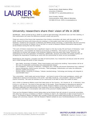 08-2013 : University researchers share their vision of life in 2030