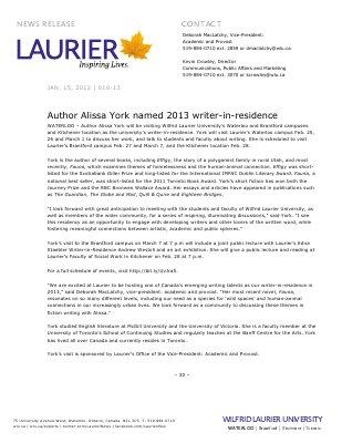 10-2013 : Author Alissa York named 2013 writer-in-residence