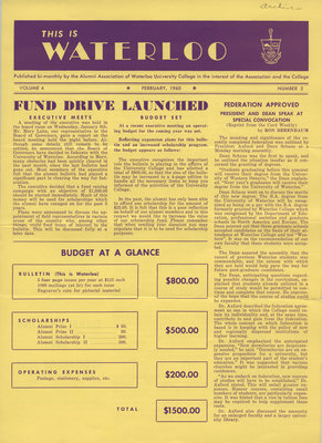 This is Waterloo, February 1960, volume 4, number 2
