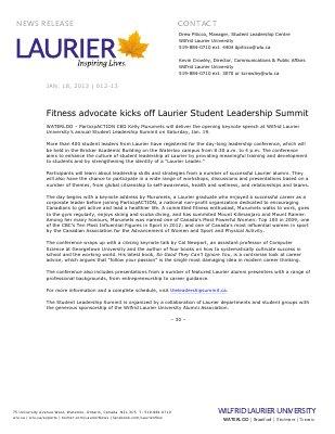 12-2013 : Fitness advocate kicks off Laurier Student Leadership Summit
