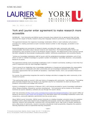 13-2013 : York and Laurier enter agreement to make research more accessible