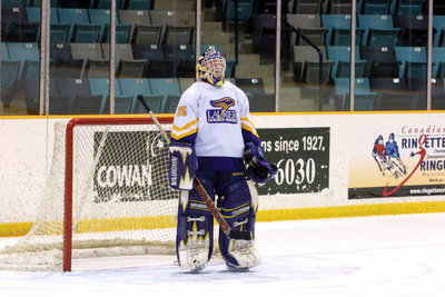 Cindy Eadie standing in net during a game