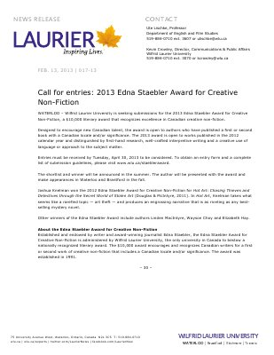 17-2013 : Call for entries: 2013 Edna Staebler Award for Creative Non-Fiction