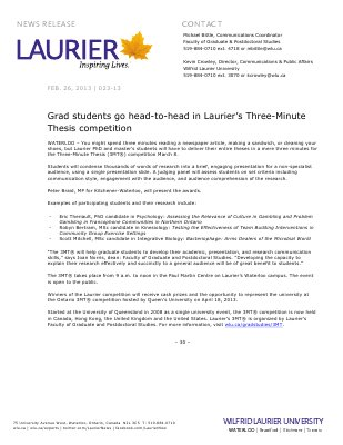 23-2013 : Grad students go head-to-head in Laurier's Three-Minute Thesis competition