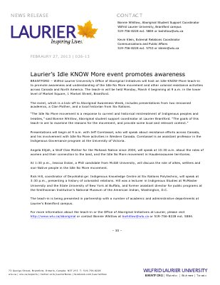 26-2013 : Laurier's Idle KNOW More event promotes awareness
