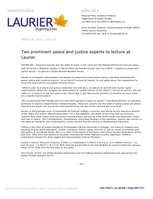 29-2013 : Two prominent peace and justice experts to lecture at Laurier