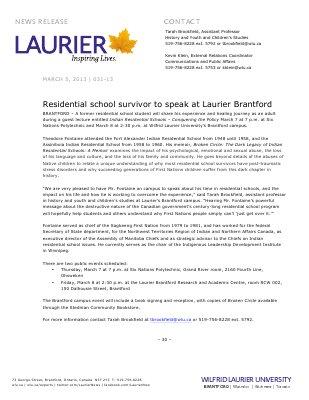 31-2013 : Residential school survivor to speak at Laurier Brantford