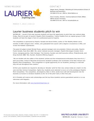33-2013 : Laurier business students pitch to win