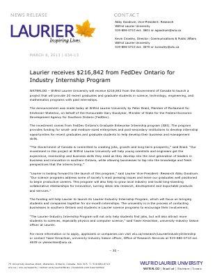 34-2013 : Laurier receives $216,842 from FedDev Ontario for Industry Internship Program