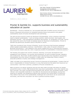 35-2013 : Procter & Gamble Inc. supports business and sustainability education at Laurier