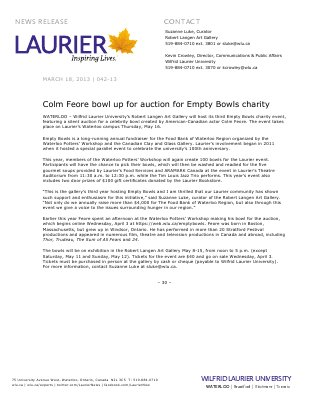 42-2013 : Colm Feore bowl up for auction for Empty Bowls charity