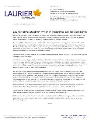 43-2013 : Laurier Edna Staebler writer-in-residence call for applicants