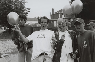 Students celebrating Homecoming '96