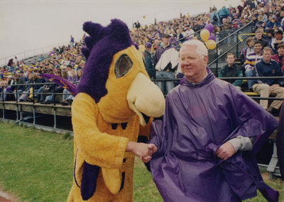 The Hawk shaking hands with Fred Nichols