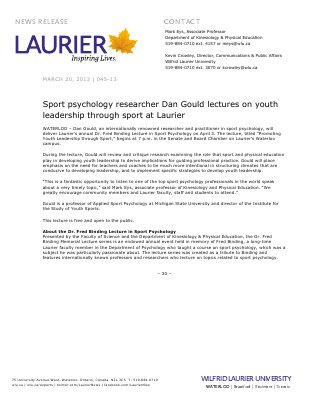 45-2013 : Sport psychology researcher Dan Gould lectures on youth leadership through sport at Laurier