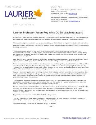 50-2013 : Laurier Professor Jason Roy wins OUSA teaching award