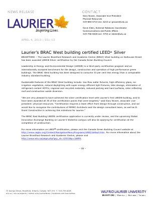 51-2013 : Laurier's BRAC West building certified LEED® Silver