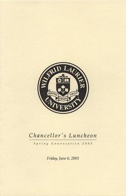 Chancellor's Luncheon program, June 6, 2003