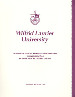 Wilfrid Laurier University special convocation ceremony, March 1, 1974