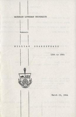 Waterloo Lutheran University honours William Shakespeare, 1564 to 1964