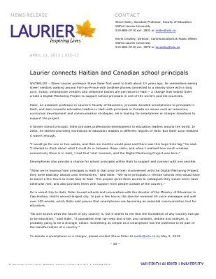 52-2013 : Laurier connects Haitian and Canadian school principals