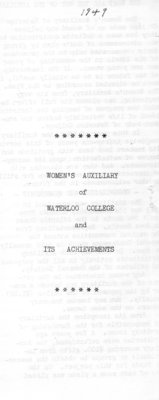 Women's Auxiliary of Waterloo College and its achievements, 1949