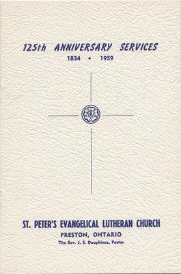 125th Anniversary services, St. Peter's Evangelical Lutheran Church, Preston, Ontario