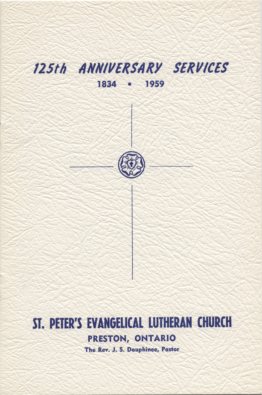 125th Anniversary services, St. Peter's Evangelical Lutheran Church, Preston, Ontario