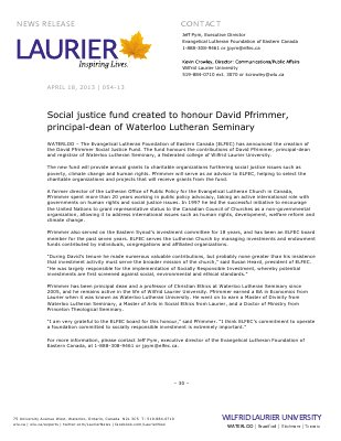 54-2013 : Social justice fund created to honour David Pfrimmer, principal-dean of Waterloo Lutheran Seminary